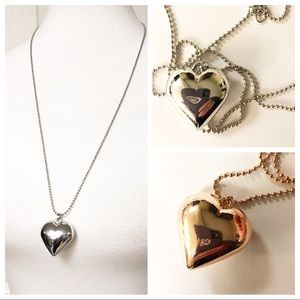 New LONG SILVER HEART NECKLACE.